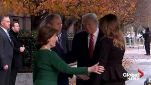 President and Melania Trump visit George and Laura Bush at Blair House