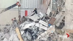 Cellphone video captures aftermath of building collapse in Russia