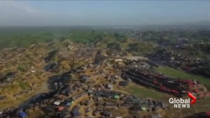 Aerial footage shows rows upon rows of Rohingya refugee tents in Bangladesh