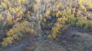 Aerial view of Old Fort landslide