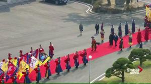 Welcome ceremony held for South and North Korean leaders in 'neutral territory'