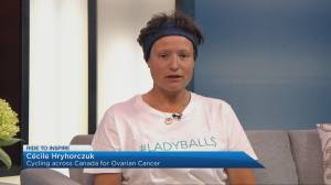 Woman cycles across Canada to raise awareness for ovarian cancer