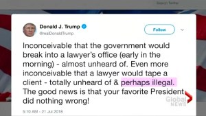 Trump says Cohen's tape 'perhaps illegal'