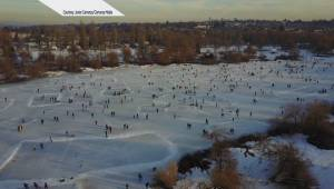 Drone footage captures skaters on Trout Lake