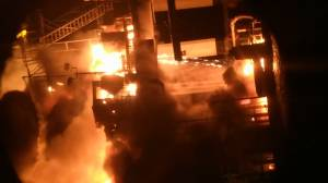 Dramatic video of fire ripping through Louisiana oil rig