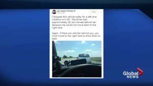 Left lane driver gets called out by cop on social media