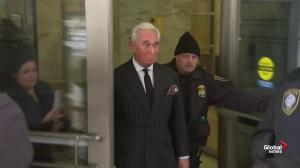 Roger Stone departs courthouse following status hearing