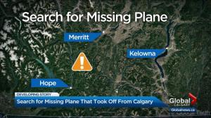 Search underway for missing plane carrying 2 passengers between Merritt and Hope, BC