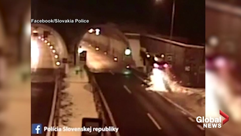 Man unhurt after launching auto off barrier in Slovakia