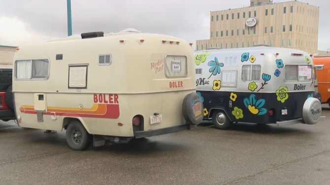 Convoy of Boler trailers pit-stop in Saskatoon