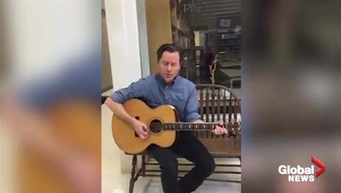 Click to play video: Guelph school teacher sings Snow Day Sadness to empty school