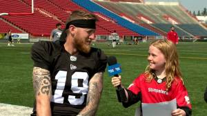 Junior reporter Sophie interviews Stamps QB Bo Levi Mitchell