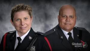 Thousands attend funeral service to honour fallen Fredericton police officers (00:49)