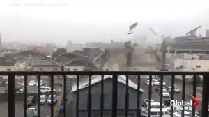 Typhoon Jebi's strong winds tear roof off building in Osaka, Japan