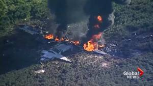 Aerial footage captures aftermath of military plane crash in Mississippi