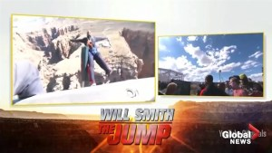 Will Smith goes bungee jumping into the Grand Canyon