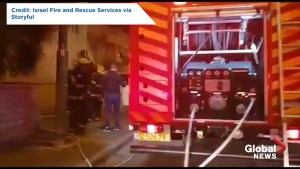 Firefighters in Israel respond to scene of alleged rocket attack