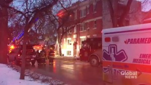 Winnipeg Fire Paramedic Service battles fire on Maryland Street