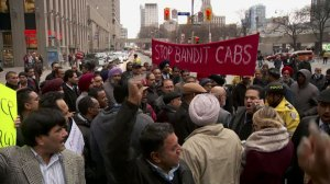 Raw video: Taxi drivers protest against Uber, want Mayor Tory to 'get out' of office