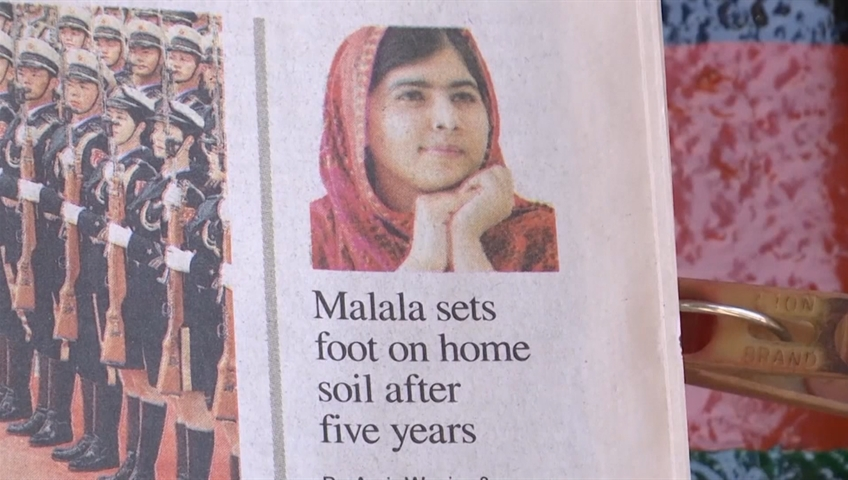 Click to play video: 'Malala Yousafzai tears up during first visit to Pakistan since shooting'
