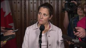 Freeland 'not aware' of threat letter from Republican politician over NAFTA