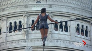 Tightrope walker ascends Paris hill on 35-metre high wire