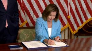 Pelosi signs budget bill after Senate passage to send to Trump