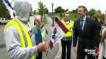 Union protesters join New Brunswick campaign trail