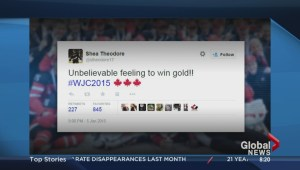 Team Canada reacts to the win