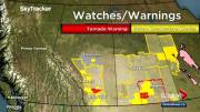 Play video: Tornado warning issued for Vulcan County