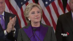 Clinton says work as citizens doesn't stop with Trump's election