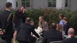 Ivanka Trump and son play with turkey ahead of White House pardon