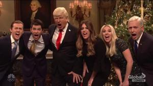 Alec Baldwin's Trump hangs ornaments of former staff, Robert Mueller, Roy Moore in SNL cold open