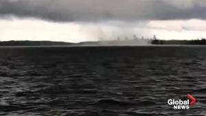 Waterspout touches down on Lake of the Woods