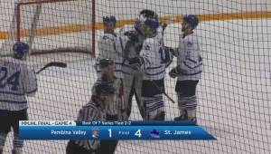 HIGHLIGHTS: MMJHL Final Game 4 Pembina Valley vs St. James (01:24)