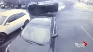 Shocking video: man clipped by SUV flying through the air in Edmonton