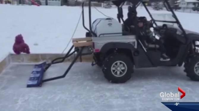 Alberta engineers design homemade zamboni for outdoor rink for Home zamboni