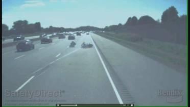 WATCH: Dashcam video captures motorcycle crash on QEW in Niagara