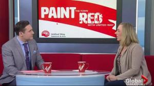 United Way painting Saskatoon red