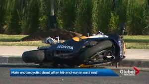 Male motorcyclist dies in east-end Toronto after hit-and-run