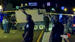 Aftermath of police pursuit involving stolen armored personnel carrier in Virginia