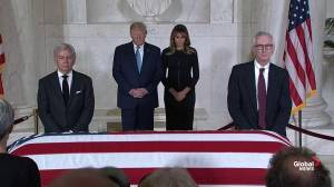 Trump visits Justice John Paul Stevens' casket in Washington, DC