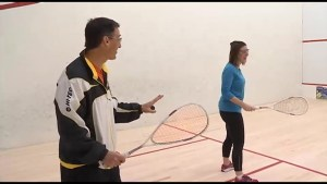 We get a lesson at Peterborough Squash Club