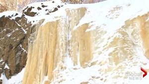 Frozen yellow waterfall in Japan