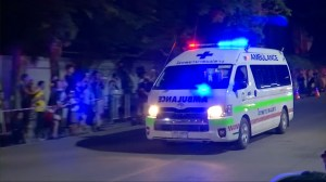 Ambulances carrying last members of Thai soccer team previously trapped in cave arrive at hospital