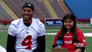 Junior reporter Maryyam interviews Stamps receiver Eric Rogers