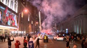 Raptors fans set off fireworks in Toronto, swarm producer after Eastern Conference win