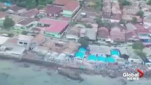 Aerial footage shows scale of damage from Indonesia tsunami