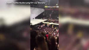 Manchester Arena announcer tries to calm fleeing concertgoers