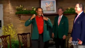 Tiger Woods dons Green Jacket at The Masters for 1st time in 14 years